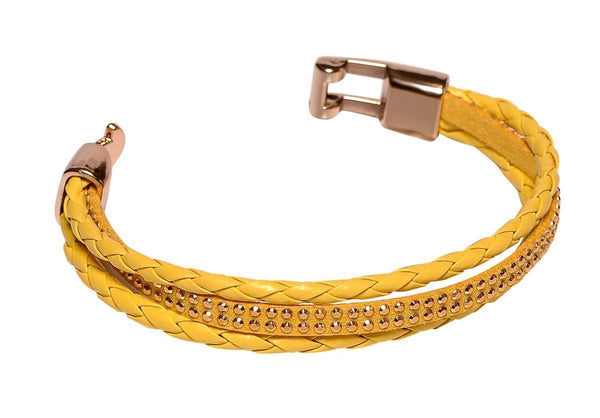 Ladies Leather Bracelet #1 Yellow - MiddleEasternMall