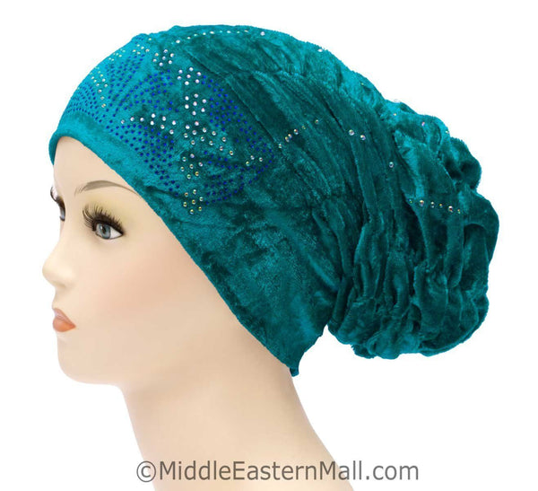 turquoise Wholesale Set of 4 Velvet Royal Snood Caps