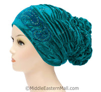 Velvet Royal Snood Ruched Hijab Caps