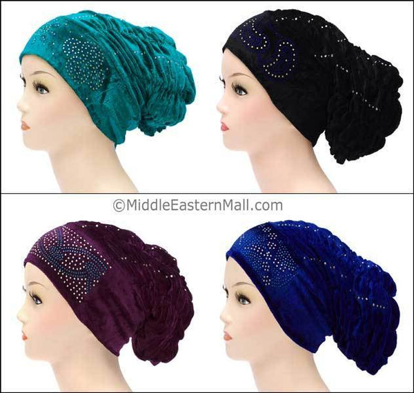 Wholesale Set of 4 Velvet Royal Snood Caps