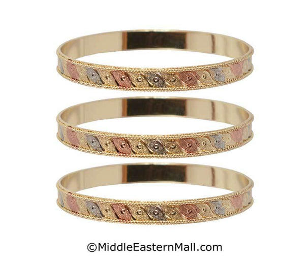 Tri-Color Bangle Bracelets Oro Laminado Set of 3 Gold Plated one year warranty #6
