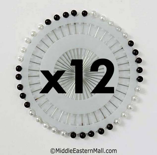 Wholesale 1 Dozen Straight Hijab Pins #2 Black & White - MiddleEasternMall