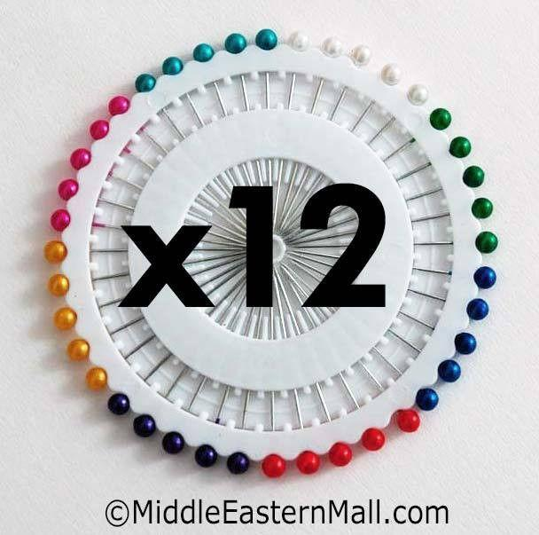 Wholesale Small Straight Hijab Pins Assorted Colors one dozen 12 wheels - MiddleEasternMall
