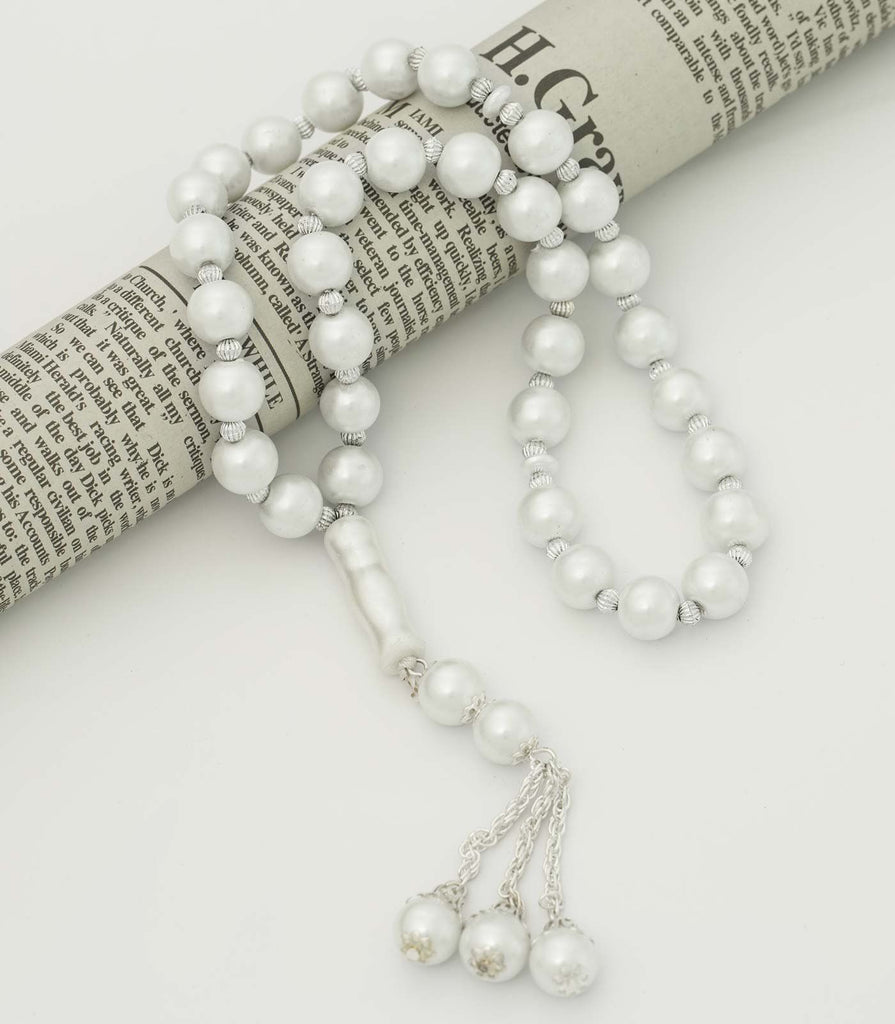 White Prayer Beads in Pearlescent