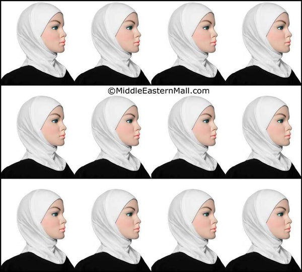 Wholesale 1 Dozen Worry-Free Under-Scarf Hijab Caps All White