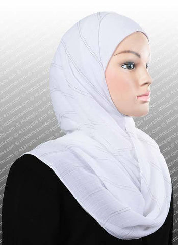 Chiffon Square Scarf Snow White Silver Pinstripe - MiddleEasternMall