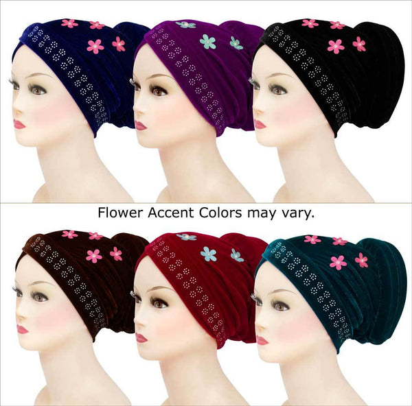 Wholesale Set of 6 Velvet Venetian Turban Hijab Caps one of each color