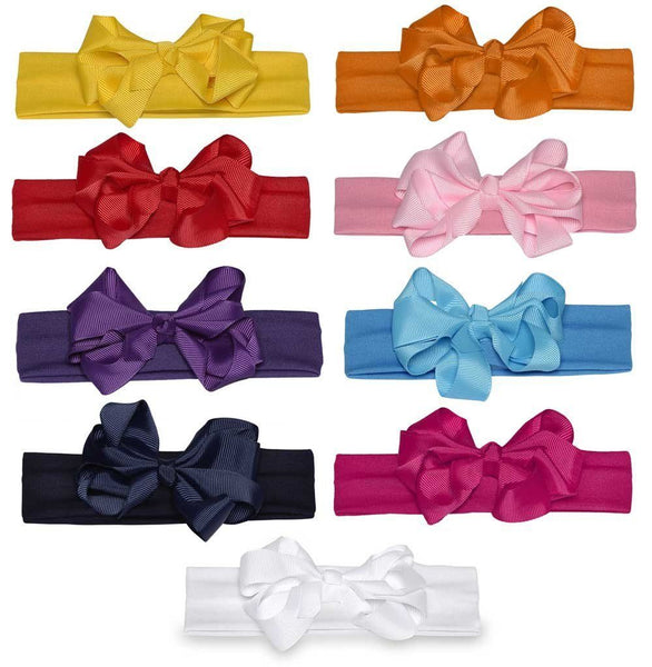 Wholesale one dozen of Headband with Grosgrain Bow in 9 Different Colors