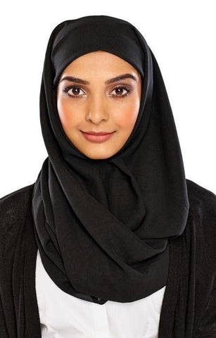 Wholesale Georgette Square Scarves 12 ALL BLACK - MiddleEasternMall - 1