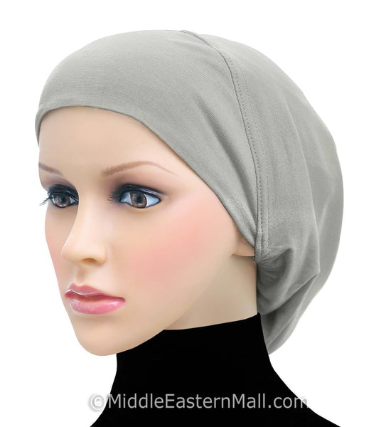 Women's Large Khatib Cotton Snood Underscarf Hijab Cap #1 Gray