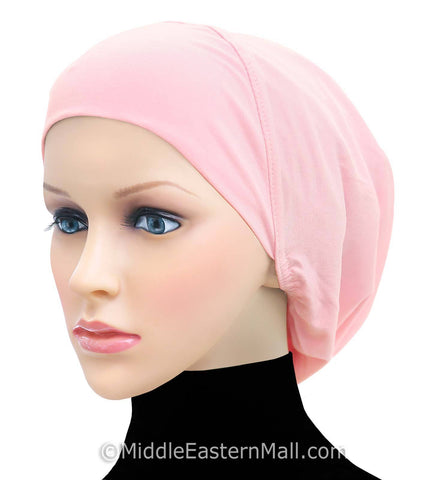 Women's Large Khatib Cotton Snood Underscarf Hijab Cap #16 Pink