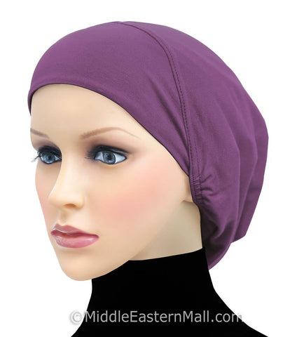Women's Large Khatib Cotton Snood Underscarf Hijab Cap #18 Purple