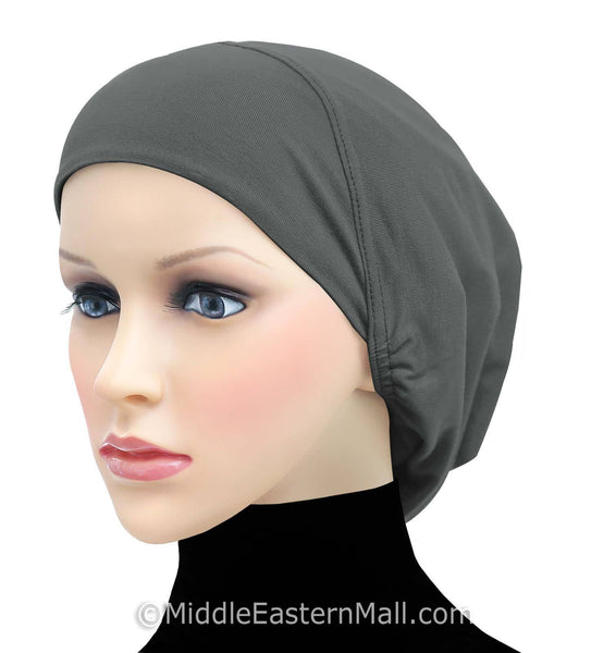 charcoal gray Cotton Snood Large Khatib Underscarf Hijab Cap