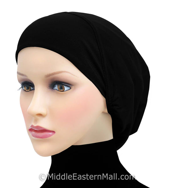 Set of 6 ALL BLACK Cotton Snood Large Khatib Underscarf Hijab Caps