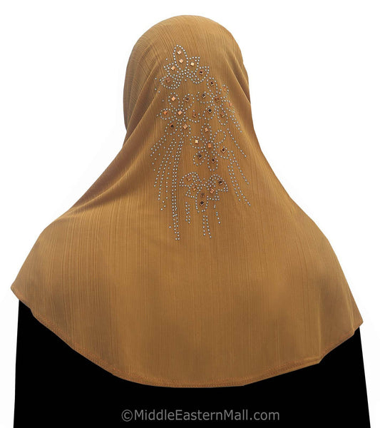 Golden Brown Yasmine Khimar Hijab 1 piece Lycra Amira
