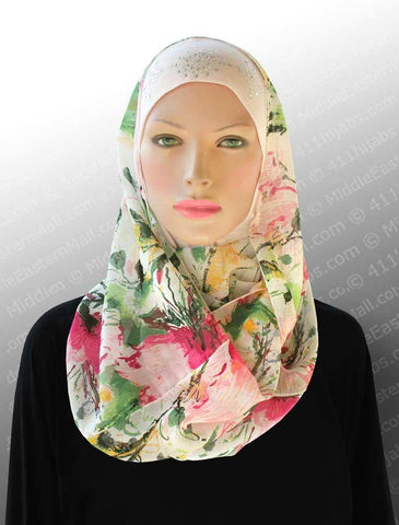 "Zenith Infinity Shawl in Floral Print- Size  58"" x 16"" Loop - MiddleEasternMall"