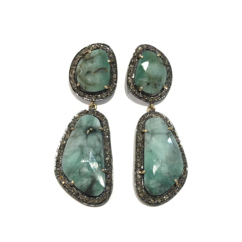 Chrysoprase and Diamond Earrings