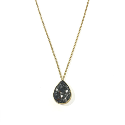 Black Diamond Chip Teardrop Necklace