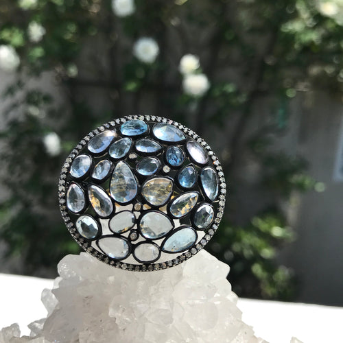 Aquamarine Cluster Ring