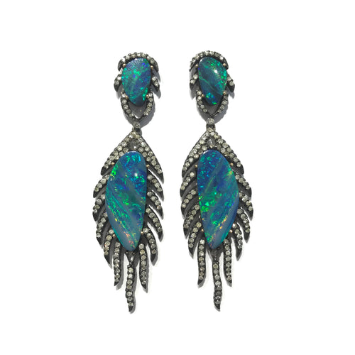 Opal and Diamond Feather Earrings