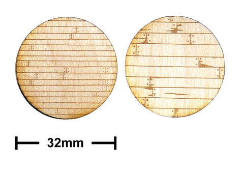 32mm Diameter Etched Wooden Planks