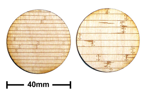 40mm Diameter Etched Wood Plank Bases