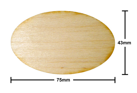 43mm x 75mm Oval Plywood Miniature Bases