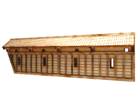 28mm Japanese Wooden Wall Section Long Angled End