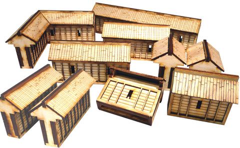 28mm Japanese Wooden Walls Pack (x10)