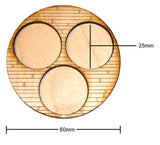 60mm Diameter Etched Wood Planks Movement Tray