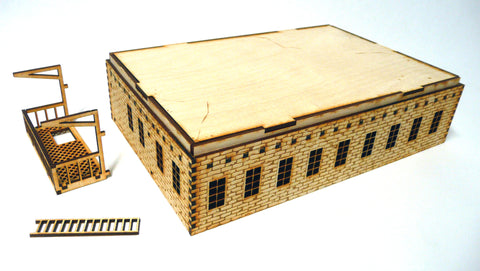 28mm Warehouse District Large Building Floor (Many Windows)