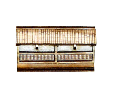 Japanese Wooden Wall Short Section (x3)