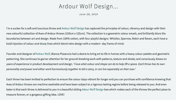 Ardour Wolf Design Aves Of Ardour dot + pop blog australian designer interiors throws