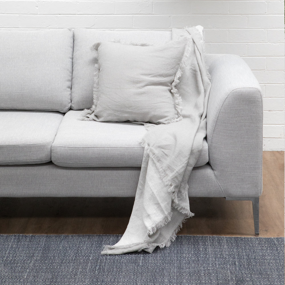 MERCER LINEN THROW 125X150CM STONE