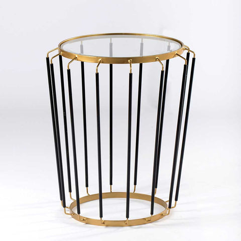 COMB SIDE TABLE BRASS STYLED