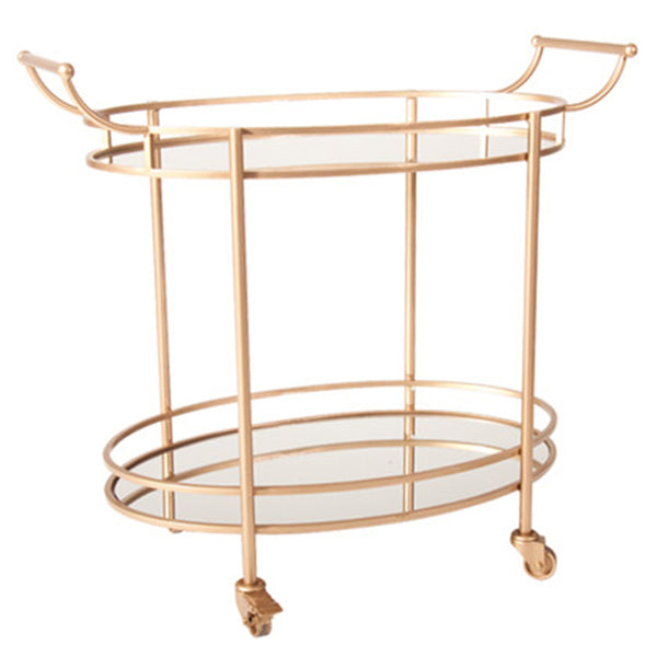 BRASS & MIRROR OVAL BAR CART