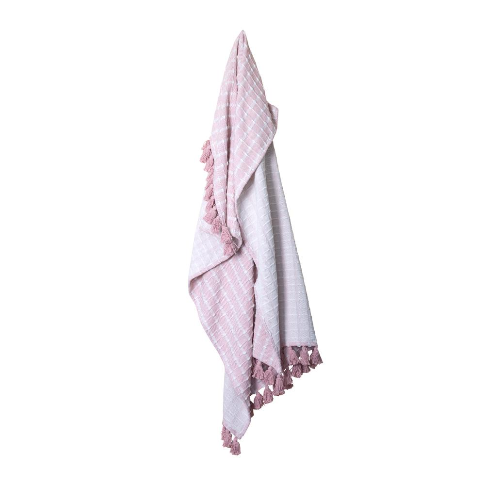 BELLA THROW 125X150CM PINK / WHITE ardour wolf design homewares home decor cushion throw
