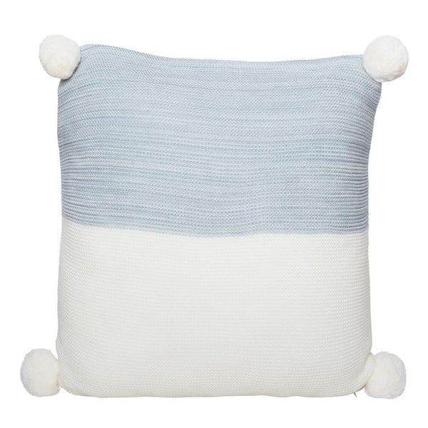 CALGARY KNITTED POM POM CUSHION GREY
