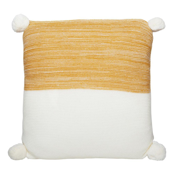 CALGARY KNITTED POM POM CUSHION MUSTARD