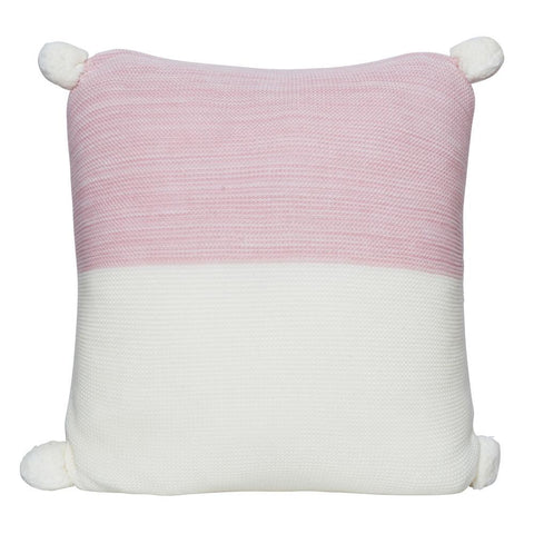CALGARY KNITTED POM POM CUSHION ROSE PINK