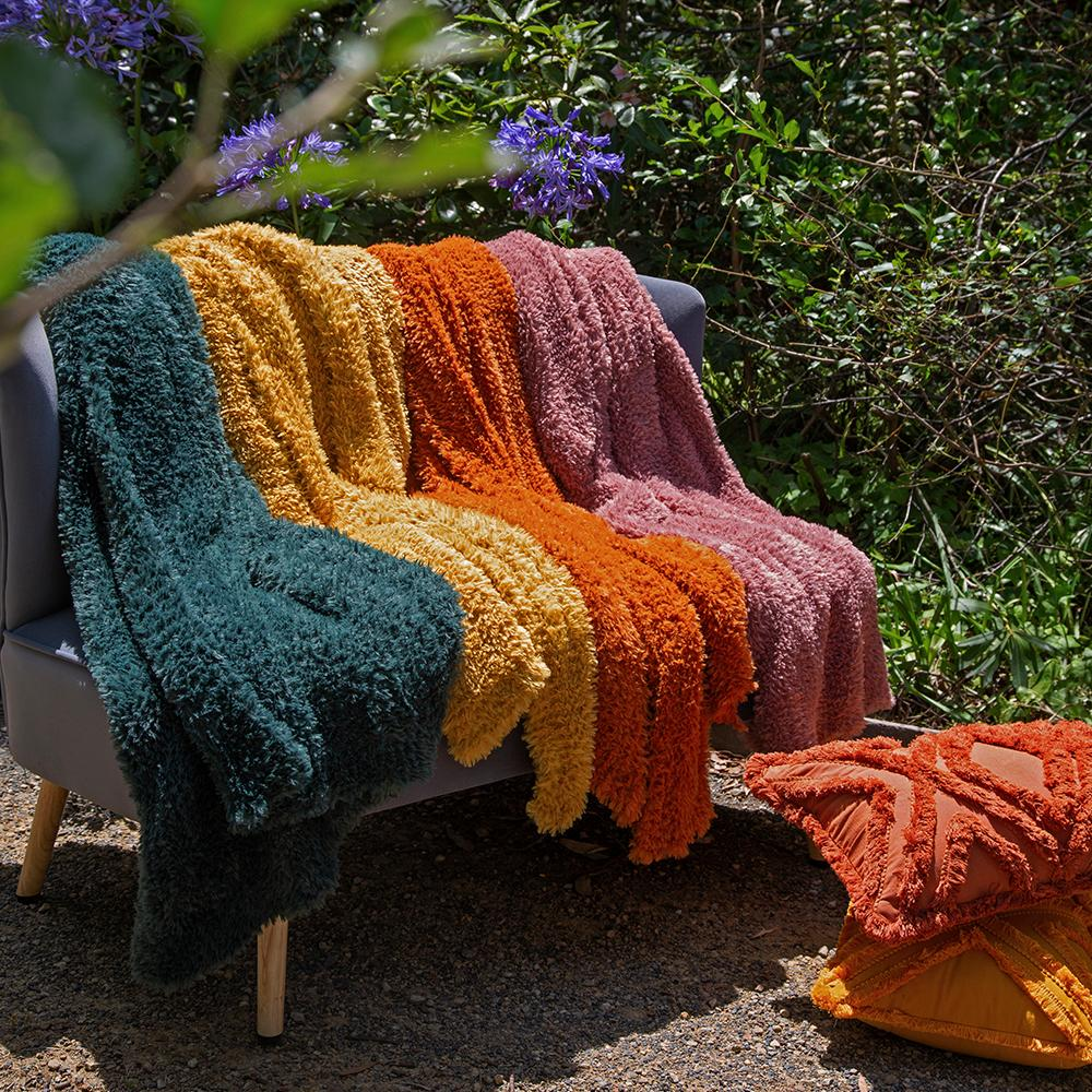 EVE FUR KNITTED THROW 130X160CM AMBER ORANGE