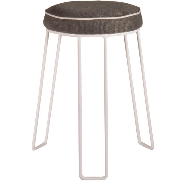 GREY & WHITE STEEL STACKING STOOL