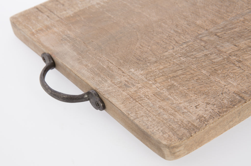 MANGO WOOD RECTANGLE SERVING BOARD WITH IRON HANDLES