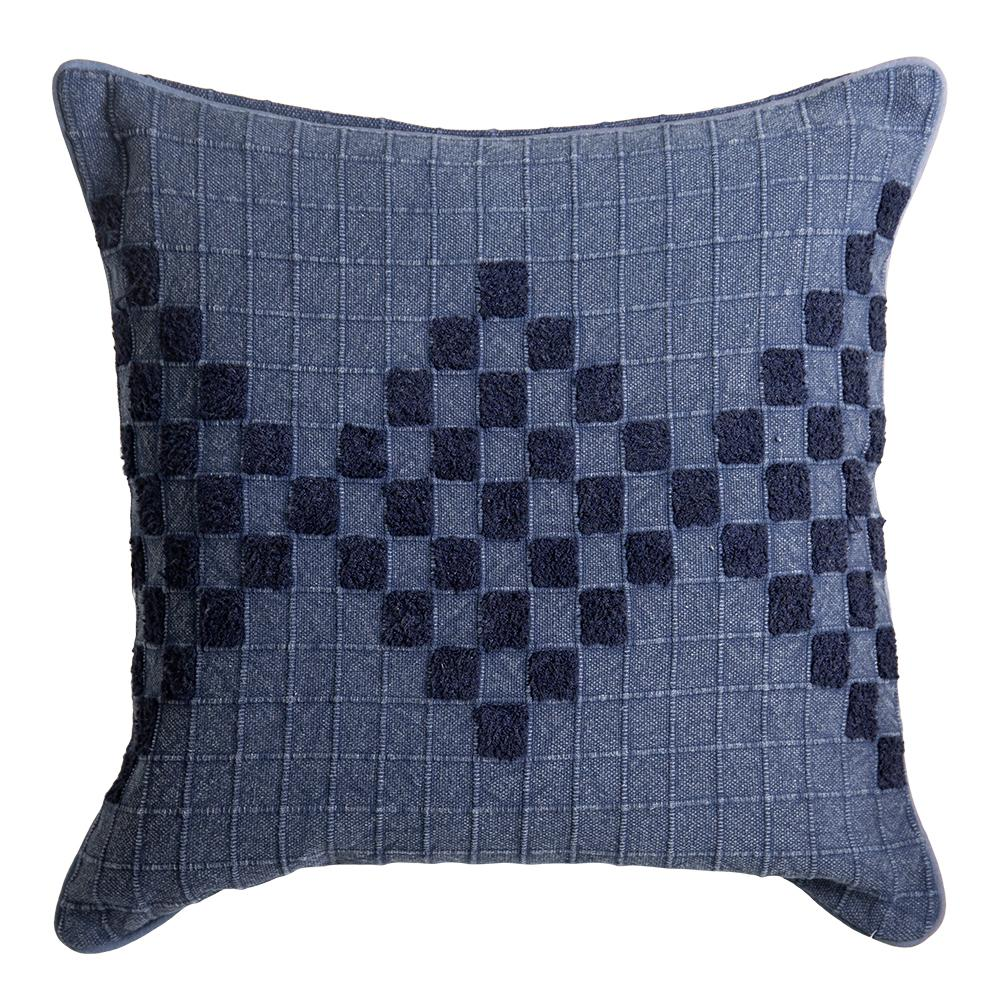 JOHANNA ENBROIDERED CUSHION 50X50CM INDIGO