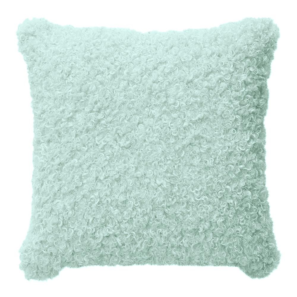 LYLA FAUX SHEEP FUR CUSHION 50X50CM MINT ardour wolf design homewares home decor cushion throw