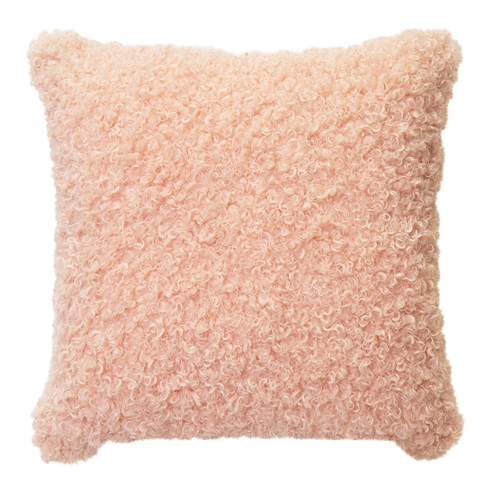LYLA FAUX SHEEP FUR CUSHION 50X50CM PEACH ardour wolf design homewares home decor cushion throw