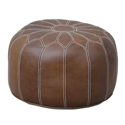 MOROCCAN LEATHER OTTOMAN BROWN