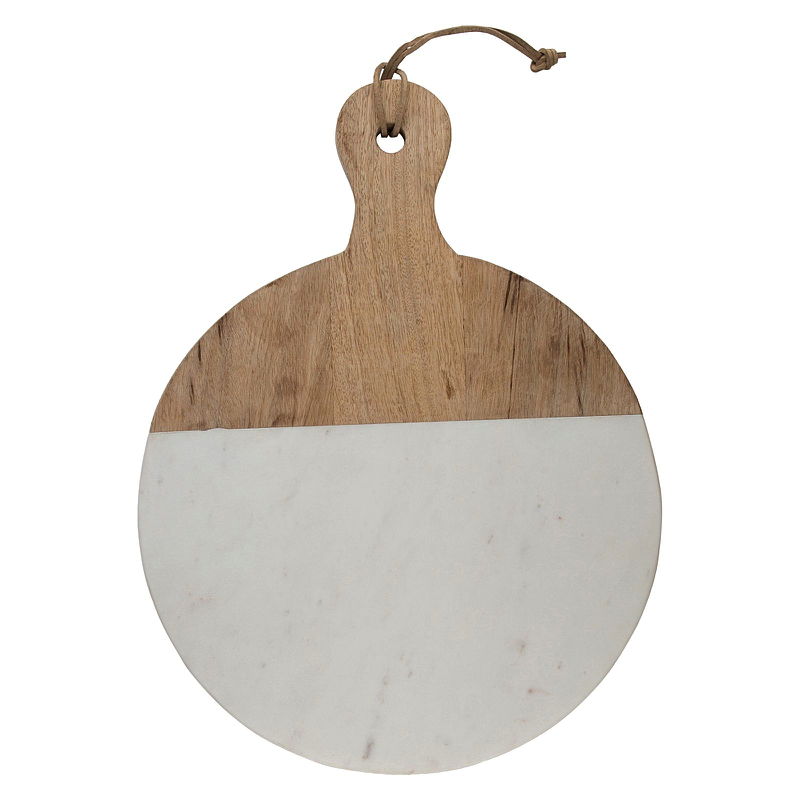 MARBLE & WOOD CHOPPING BOARD ROUND
