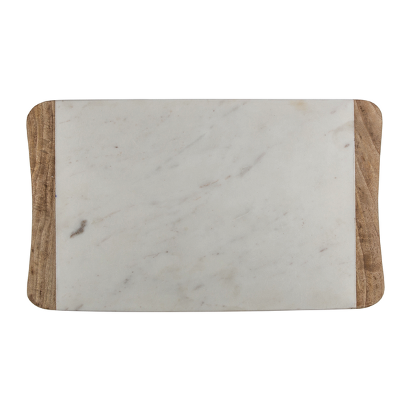 MARBLE & WOOD SERVING BOARD