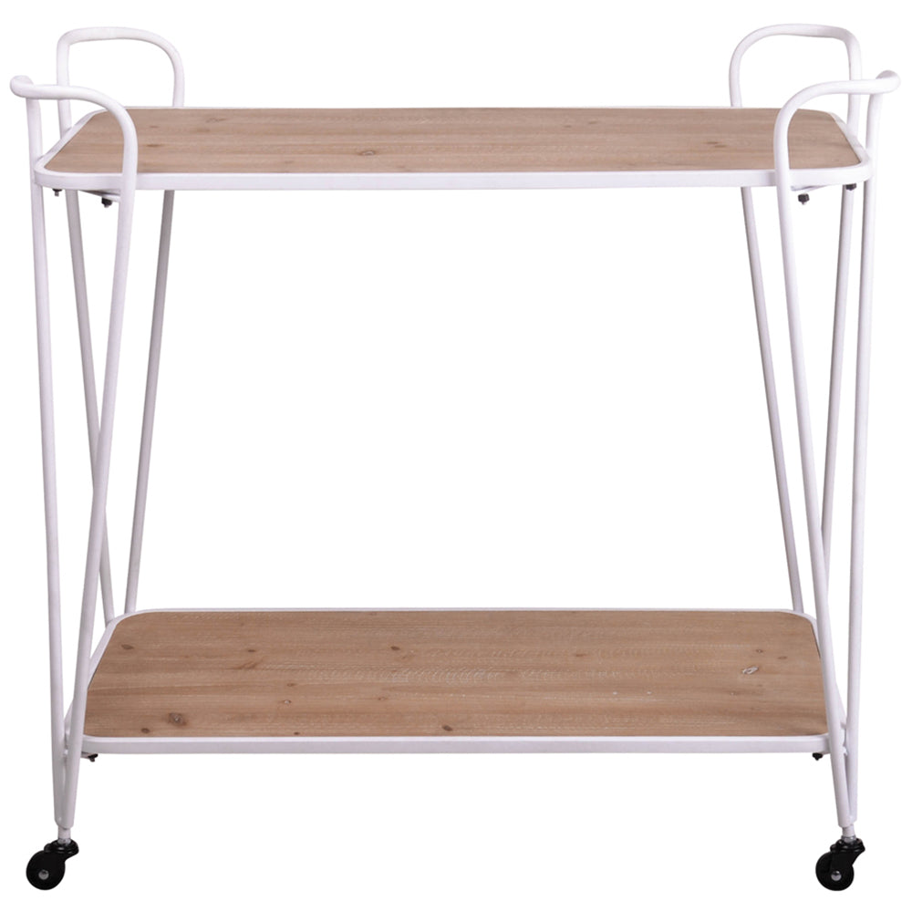 NATURAL & WHITE PINE WOOD DRINKS TROLLEY